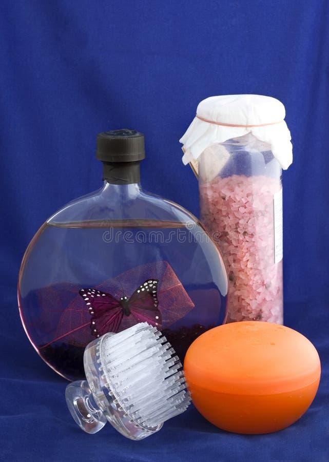 Bath essentials with mango scrub royalty free stock image