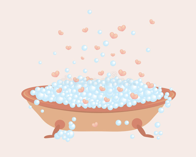 Bath full of bubbles and hearts royalty free illustration