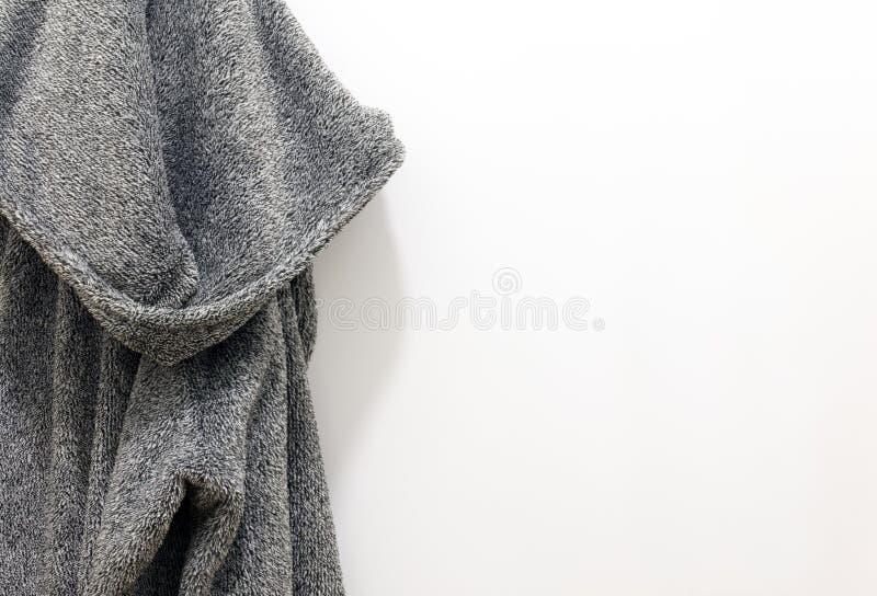 Bath gray cotton men`s bathrobe for spa royalty free stock photography