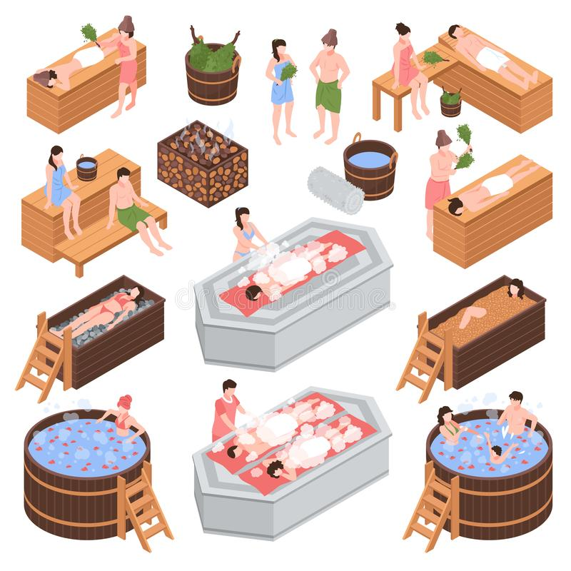 Bath House Isometric Set. Set of isometric bath house elements and human characters during body cleaning procedure isolated vector illustration vector illustration