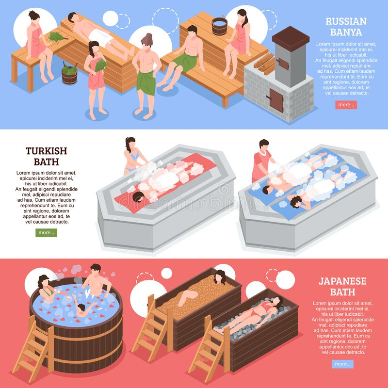 Bath Houses Isometric Banners. Japanese russian and turkish bath houses set of horizontal isometric banners on colorful background isolated vector illustration stock illustration