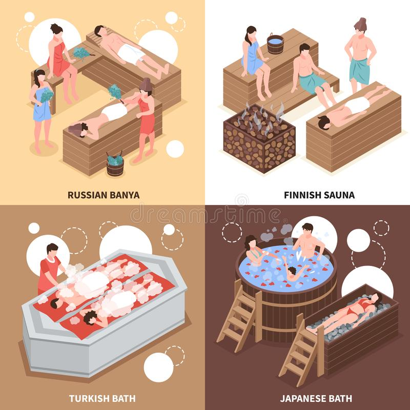 Bath Houses Isometric Design Concept. Japanese russian and turkish bath houses and finnish sauna isometric design concept isolated vector illustration stock illustration