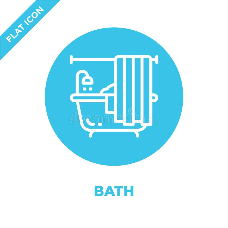 bath icon vector from furnitures collection. Thin line bath outline icon vector  illustration. Linear symbol for use on web and vector illustration