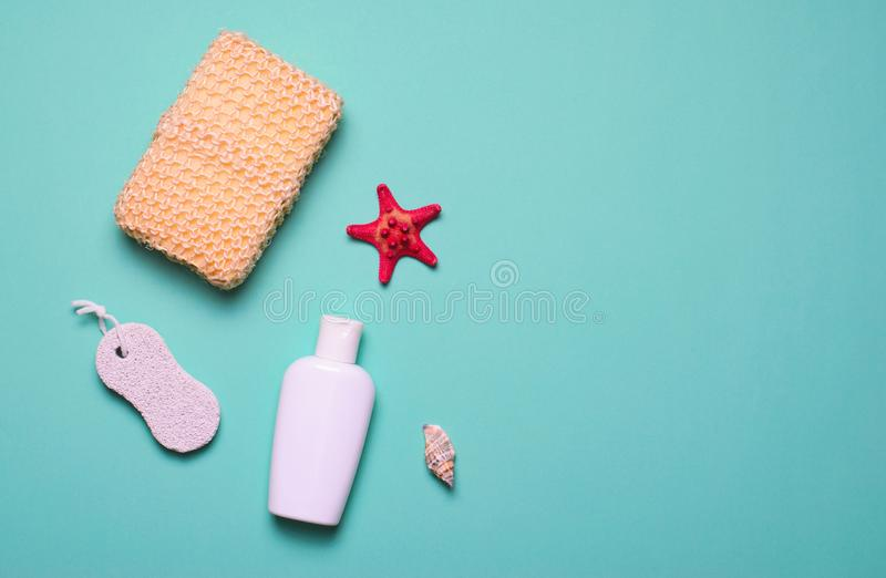 Bath Items Concept, Sponge, Shampoo or Shower Gel, Pumice Stone, Top View, Flat Lay stock images