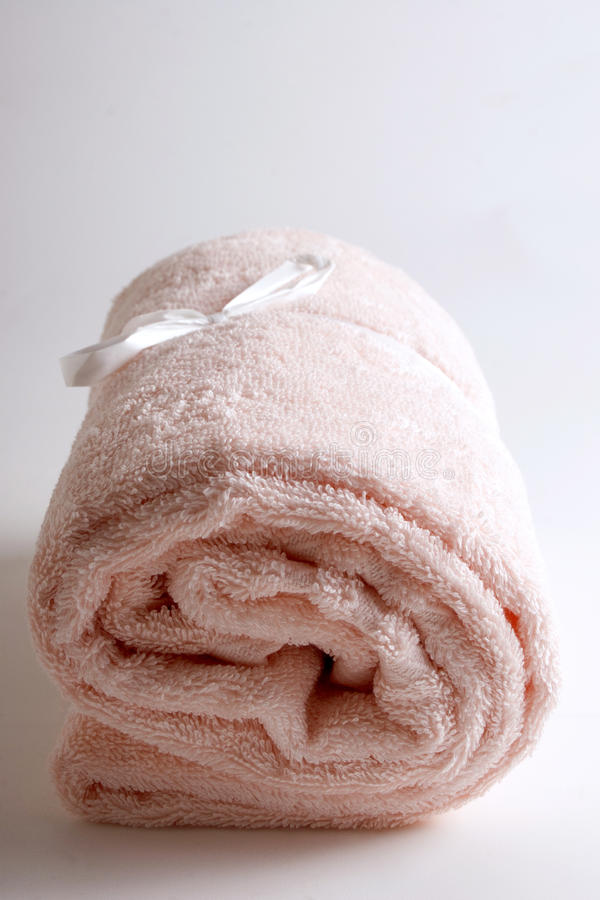 Bath items - isolated pink towel stock photo