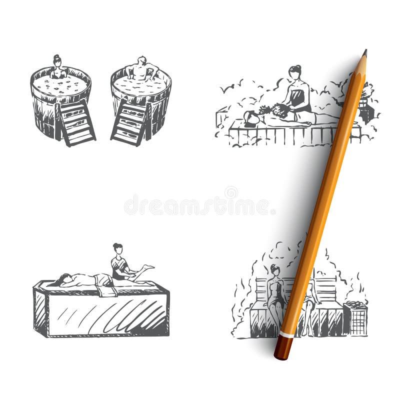 Bath - japanese bath, russian bath, finnish sauna, turkish bath vector concept set. Hand drawn sketch isolated illustration stock illustration