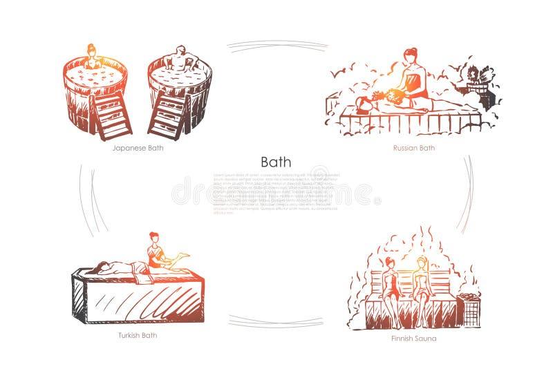 Bath - japanese bath, russian bath, finnish sauna, turkish bath vector concept set. Hand drawn sketch isolated illustration vector illustration