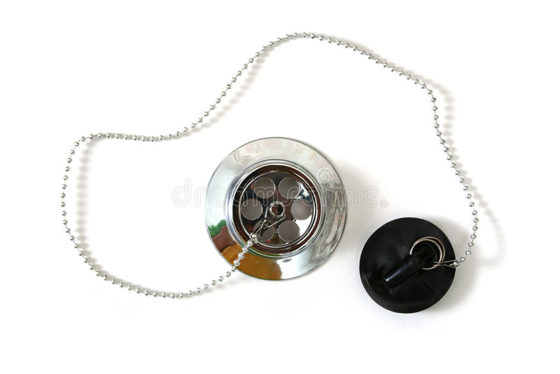Bath plug. Plug silver with chain for bath stock images