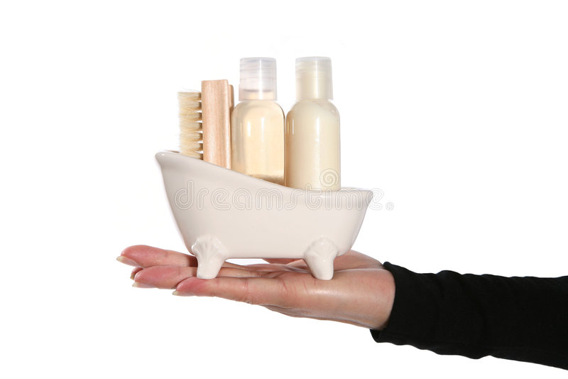 Bath Products. Shampoo, conditioner, and brush inside a miniature bathtub royalty free stock photo
