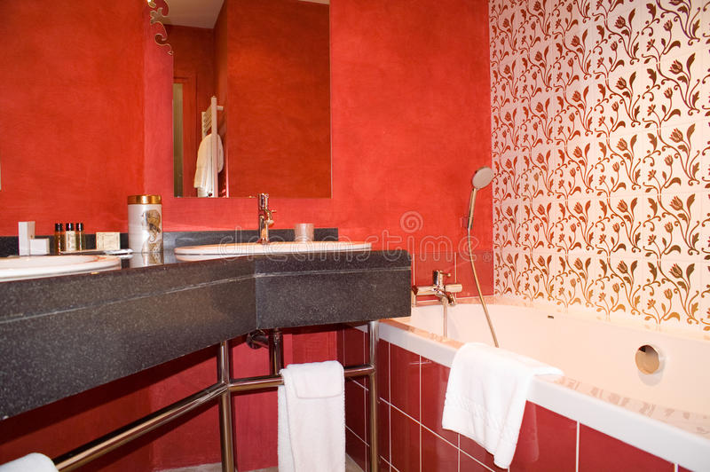 Bath-room. Bath room, red modern interior royalty free stock images