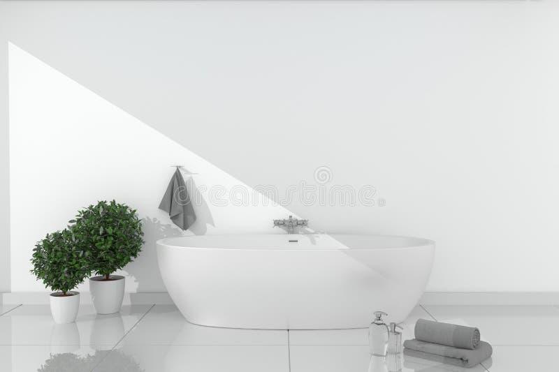 Bath room interior - beautiful bath with bright wall on ceramic floor - Empty room concept. 3D rendering. Mock up Bath room interior - beautiful bath with bright stock illustration