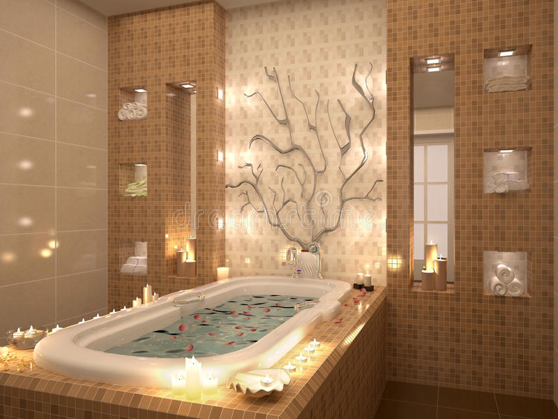 Bath with rose petals by candlelight. 3d illustration of bath with rose petals by candlelight stock illustration