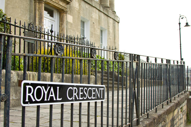 Bath Royal Crescent. A sign which indicates that you are entering The Royal Crescent which is a residential road of 30 houses, laid out in a crescent, in the royalty free stock photo