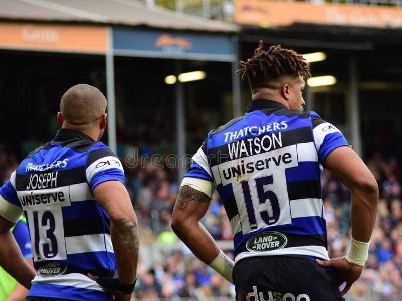 Bath Rugby play Worcester Warriors in the Aviva Premiership, Recreation Ground, Bath, 7 October 2017. BATH, ENGLAND, UNITED KINGDOM - Oct 07, 2017: Bath Rugby royalty free stock images