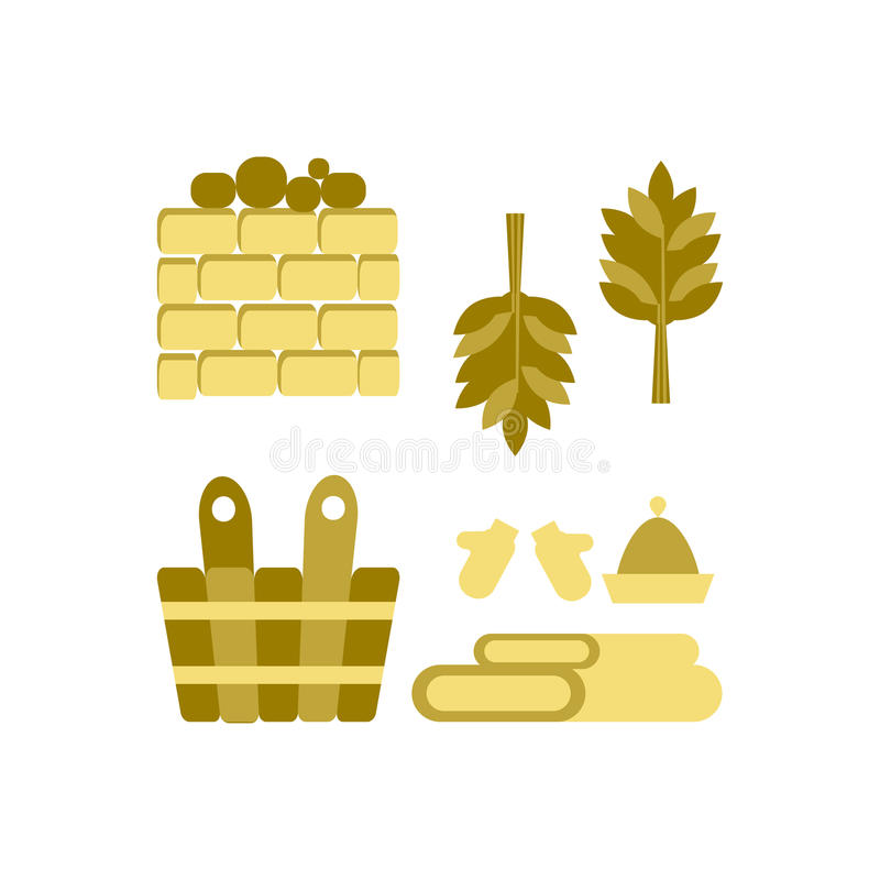 Bath and sauna Accessories. Vector Bath and sauna Accessories Icons Set in flat design royalty free illustration