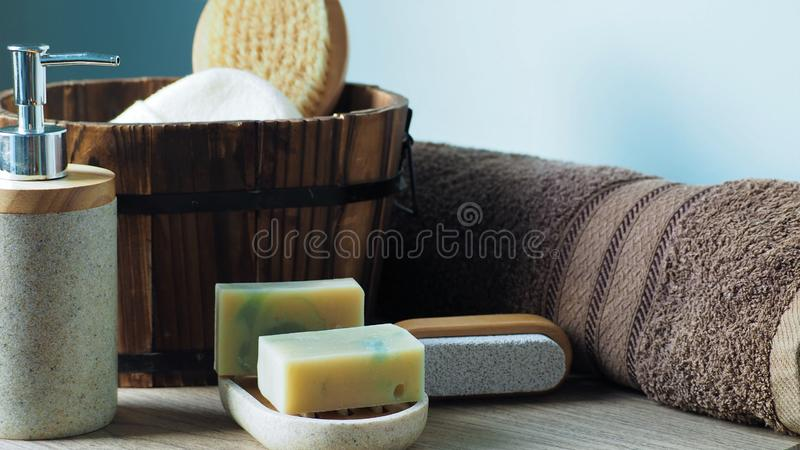 Bath set and natural homemade soaps royalty free stock photography