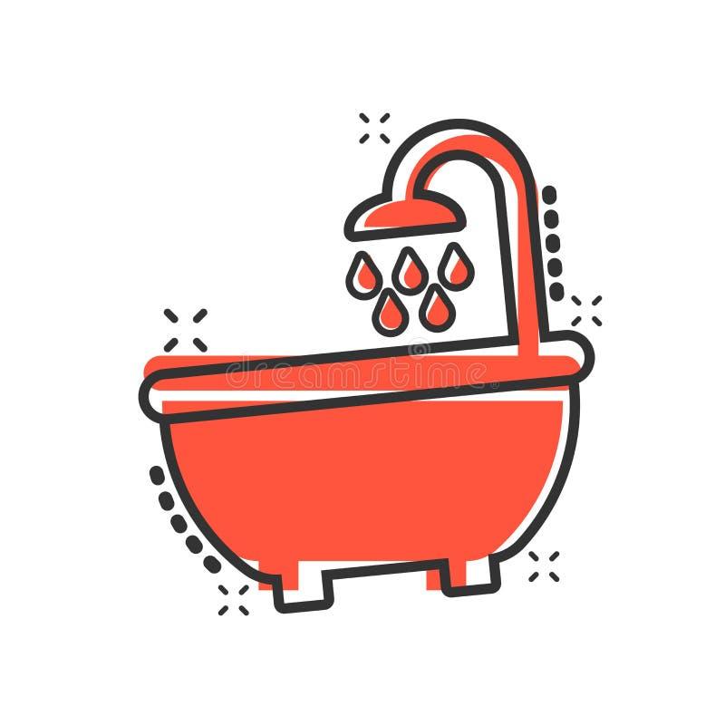 Cartoon Home Washroom Tub Stock Vector. Illustration Of