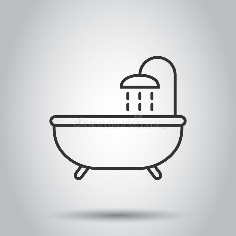 Bath shower icon in flat style. Bathroom hygiene vector illustration on white background. Bath spa business concept.  royalty free illustration