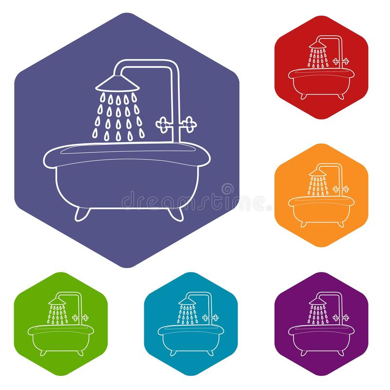 Bath with shower icon, outline style stock illustration
