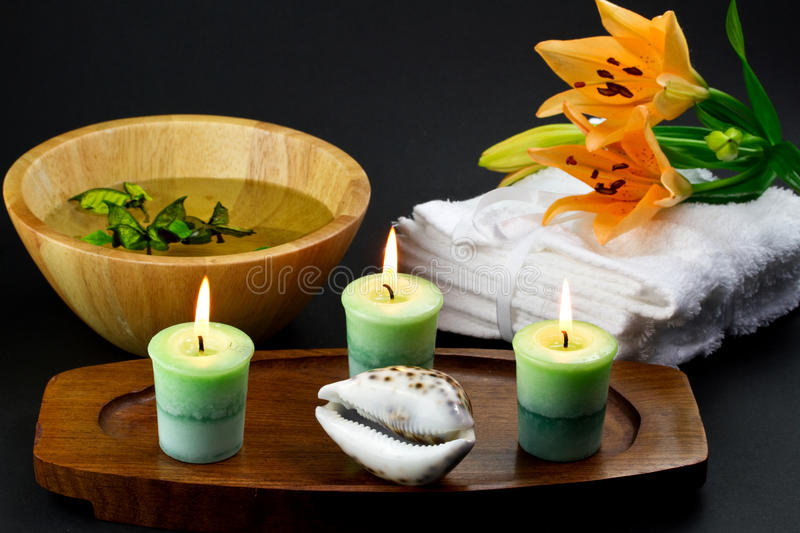 Download Bath and spa accessories stock photo. Image of candle - 18692448
