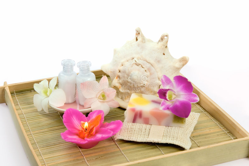 Bath and spa accessories stock image. Image of shampoo - 7808585