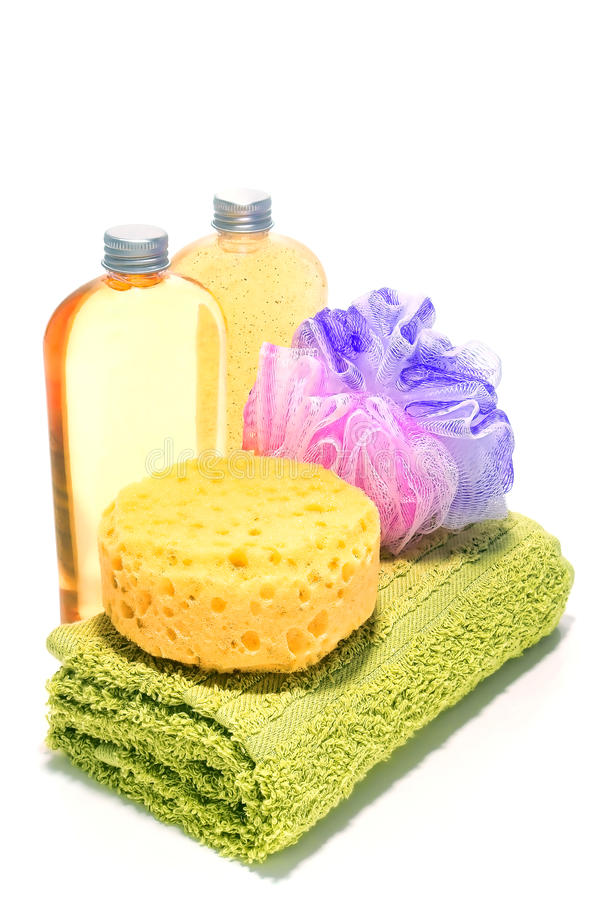 Bath Time Cleaning and Body Care Cosmetics Kit royalty free stock images
