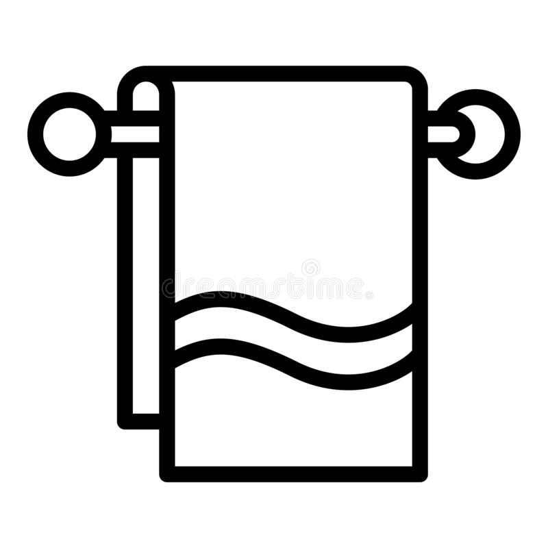 Bath towel on hanger icon, outline style vector illustration