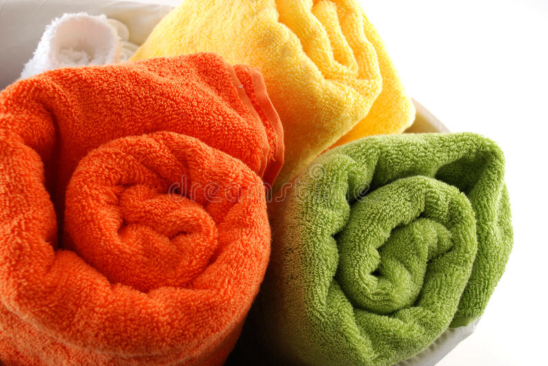 Download Bath towels stock photo. Image of cotton, interior, basket - 16331734