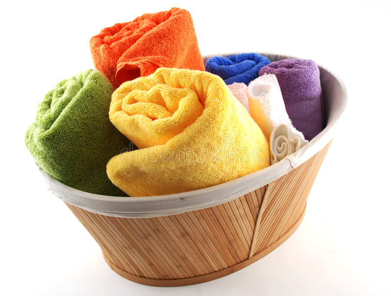 Bath towels. Stock pictures of bath towels and wash clothes stock photo