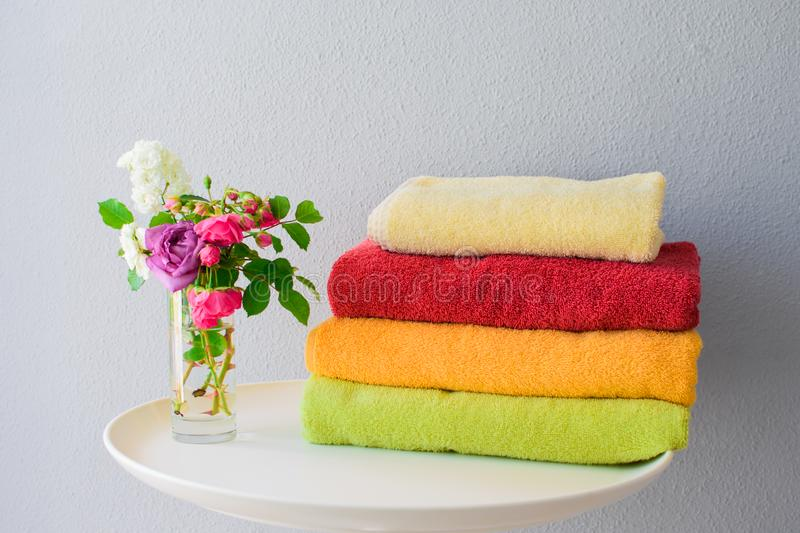 Bath towels of different colors royalty free stock photos