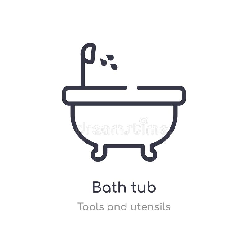 bath tub outline icon. isolated line vector illustration from tools and utensils collection. editable thin stroke bath tub icon on stock illustration