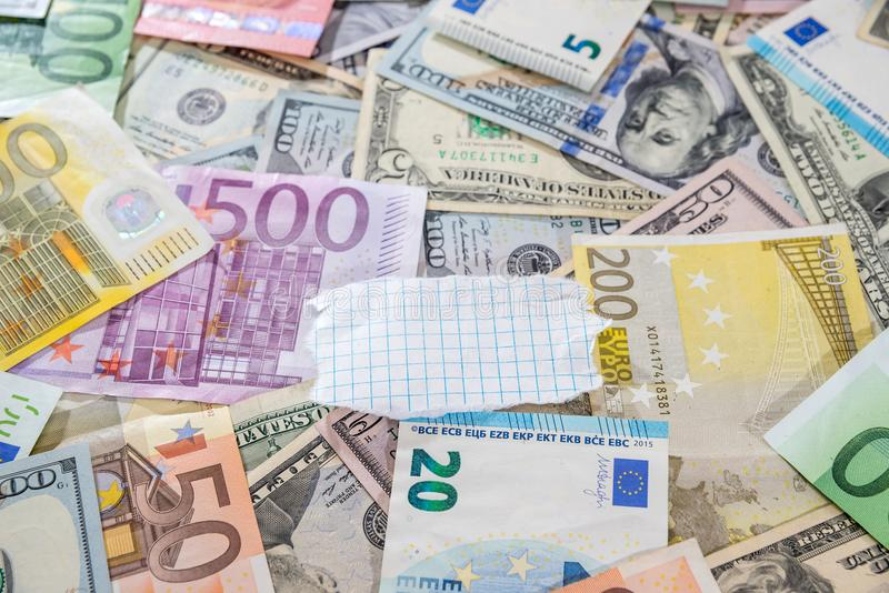 US Dollar And Euro Banknotes. Stock Image - Image of american ...