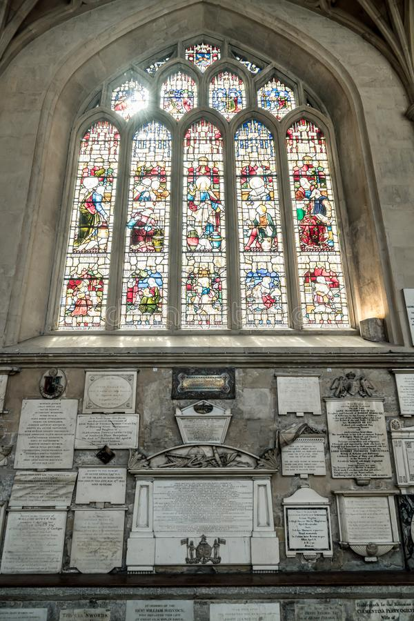 Bath, United Kingdom - AUG 30, 2019: Interior of Abbey Church of St.Peter and St.Paul, commonly known as Bath Abbey. In United Kingdom stock image