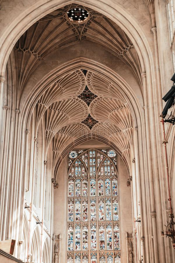 Bath, United Kingdom - AUG 30, 2019: Interior of Abbey Church of St.Peter and St.Paul, commonly known as Bath Abbey. In United Kingdom stock images