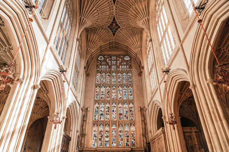 Bath, United Kingdom - AUG 30, 2019: Interior of Abbey Church of St.Peter and St.Paul, commonly known as Bath Abbey. In United Kingdom royalty free stock photos