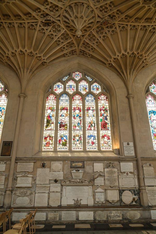 Bath, Verenigd Koninkrijk - AUG 30, 2019: Binnenlandse Zaken van de Abbey Church of StPeter en StPaul, algemeen bekend als Bath A stock afbeeldingen