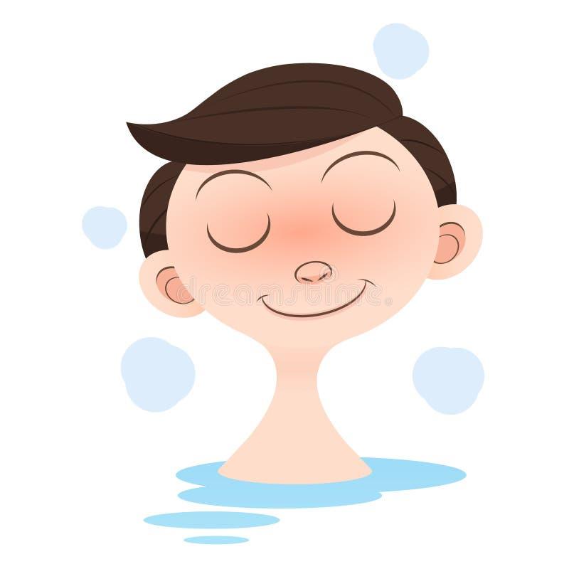 Bath. Young muscular man taking bath vector illustration