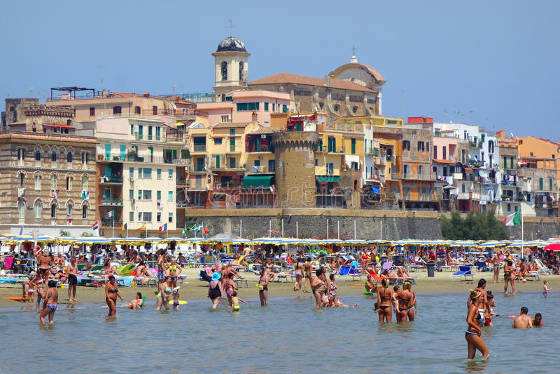 Bather Bathers Sea Summertime Beach Nettuno Italy. Bathers having fun in the sea summertime in Nettuno Italy stock photography