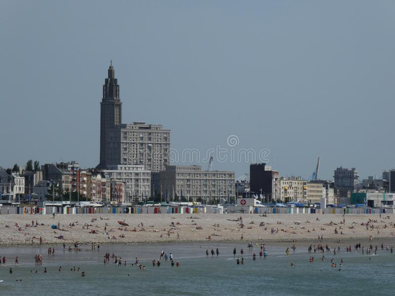 Bathers at the beach of Le Havre seen from Sainte-Adresse, Normandy, France. 