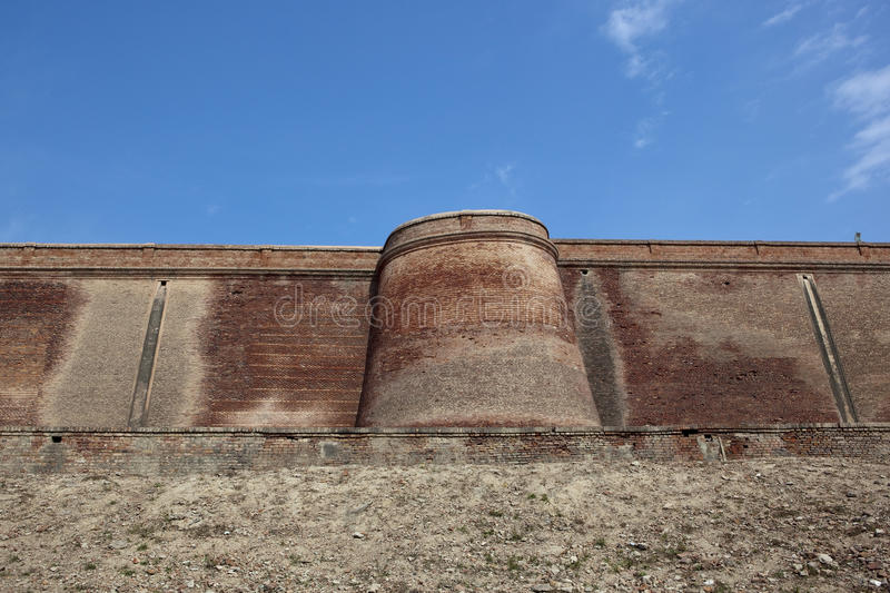 Bathinda fort. Ancient brick walls and defensive tower of bathinda fort in punjab india royalty free stock photography