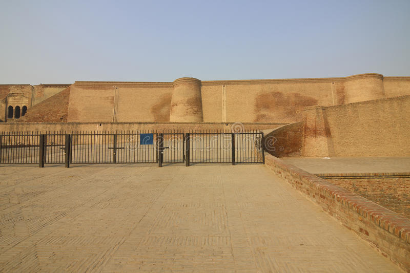 Bathinda fort. The restored red brick with railings at bathinda fort punjab india royalty free stock photography