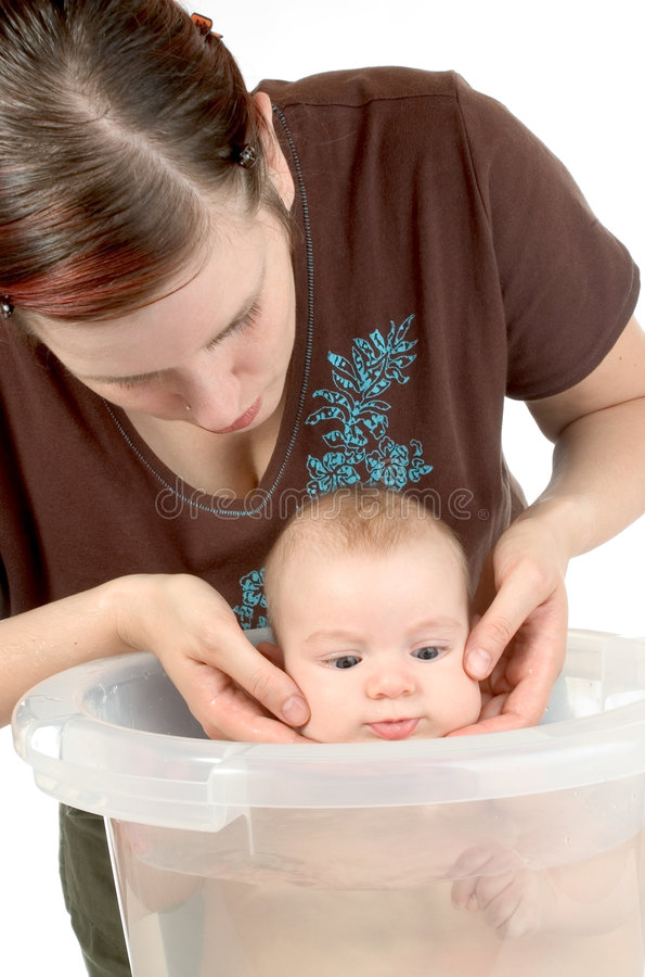 Bathing baby royalty free stock images