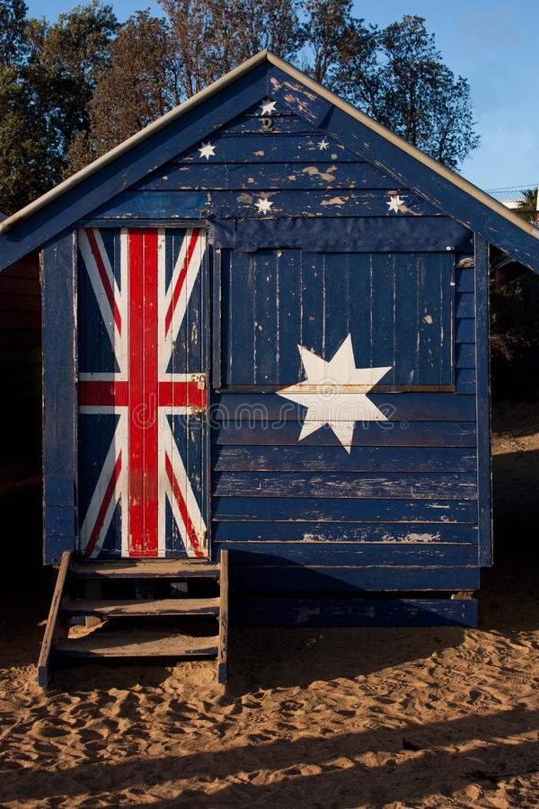 A bathing box with the Australian flag on it at the Brighton Beach in Melbourne stock images