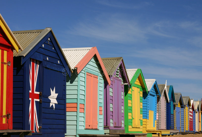 Bathing boxes in Melbourne stock photo