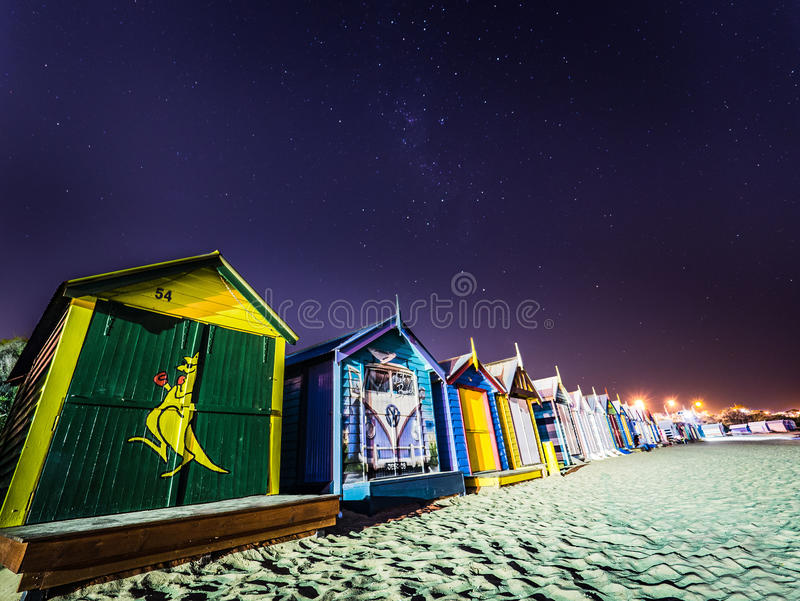 Bathing Boxes at Night royalty free stock photography