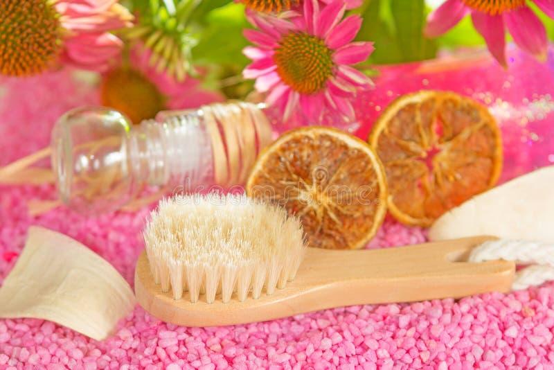 Bathing brush and gel with Echinacea royalty free stock photo