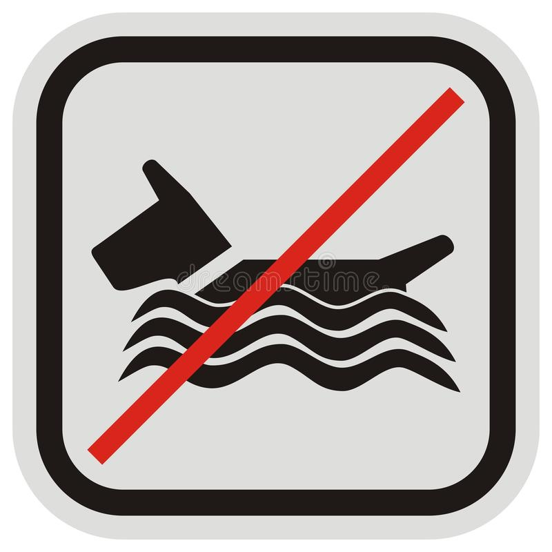 Bathing dogs does not allowed, vector icon at black and gray frame stock illustration