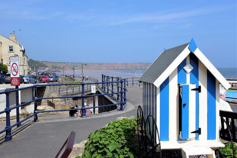 Bathing hut and seafront, Filey, Yorkshire, UK stock images