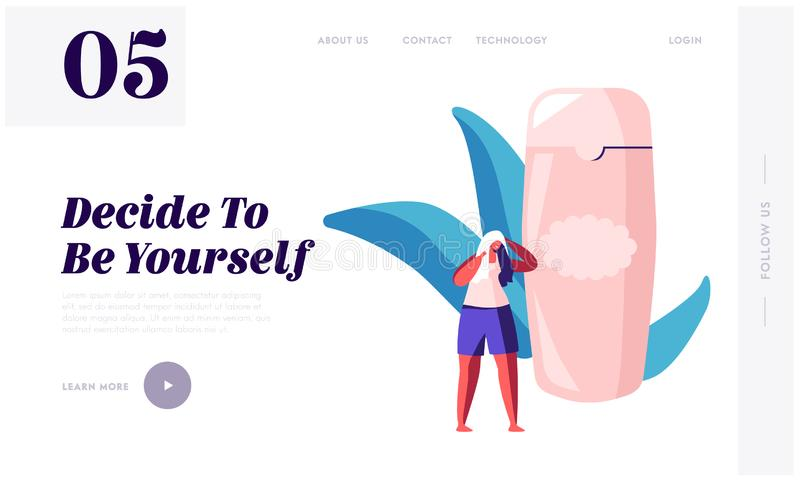 Bathing Hygiene Procedures Website Landing Page. Tiny Female Character Dry Hair with Towel after Washing Stand at Huge Shampoo stock illustration