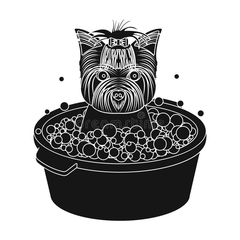 Bathing pet puppy in a bowl. dog,Pet,dog care single icon in black style vector symbol stock illustration web. Bathing pet puppy in a bowl. dog,Pet,dog care stock illustration